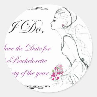 Elegance_bachelorette party round sticker
