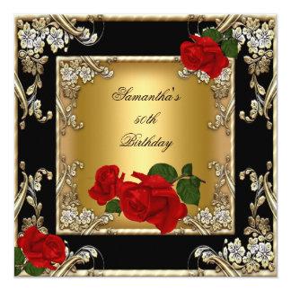 Elegant 50th Birthday Party Gold Red Rose Black 13 Cm X 13 Cm Square Invitation Card