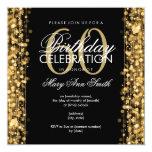 Elegant 60th Birthday Party Sparkles Gold 13 Cm X 13 Cm Square Invitation Card