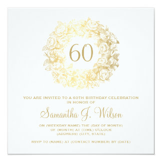 Elegant 60th Birthday Vintage Roses Gold 13 Cm X 13 Cm Square Invitation Card