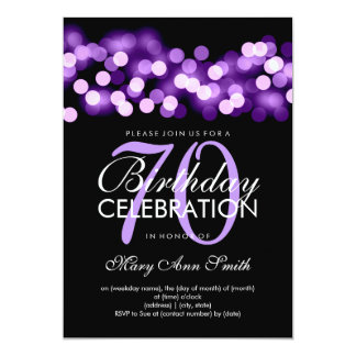 Elegant 70th Birthday Party Purple Hollywood Glam 13 Cm X 18 Cm Invitation Card