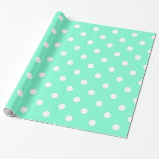 Elegant Aquamarine Polka Dot Wrapping Paper