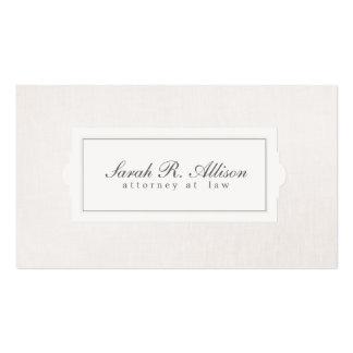 Elegant Attorney Plaque Style Beige Linen Look Pack Of Standard Business Cards