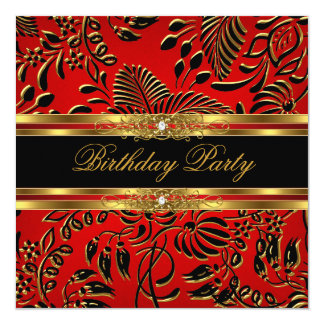Elegant Birthday Party Red Black Gold Damask 13 Cm X 13 Cm Square Invitation Card