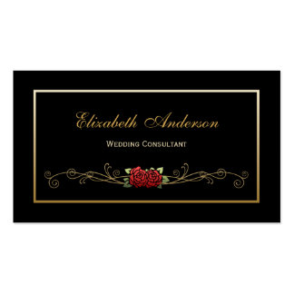 Elegant Black and Gold Wedding Consultant Red Rose Pack Of Standard Business Cards