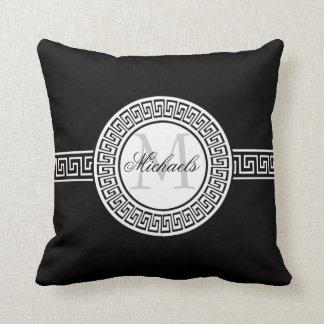 Elegant Black and White Greek Key Monogram Pillow Cushion