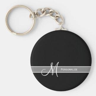 Elegant Black and White Monogram With Name Basic Round Button Key Ring