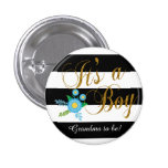 Elegant Black and White Stripes With Blue Floral 3 Cm Round Badge
