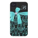 Elegant Black Aqua Damask Diamond Bow Monogram iPhone 4 Covers
