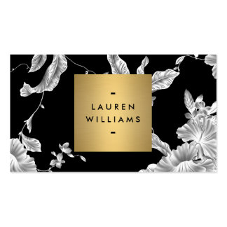 Elegant Black Floral Pattern 3 with Gold Name Logo Pack Of Standard Business Cards
