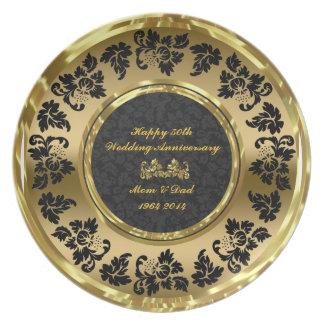 Elegant Black & Gold 50th Wedding Anniversary Plate
