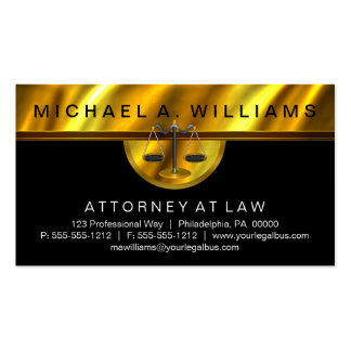Elegant Black Gold Attorney at Law Legal Business Pack Of Standard Business Cards