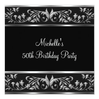 Elegant Black & Silver Floral 50th Birthday Party 13 Cm X 13 Cm Square Invitation Card