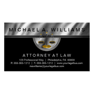 Elegant Black | Silver Lawyer Legal Law Business Pack Of Standard Business Cards