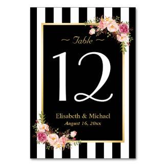 Elegant Black White Floral Wedding Table Number Table Cards