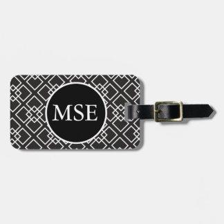 Elegant Black White Geometric Pattern Luggage Tag