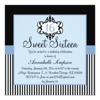Elegant Blue & Black Chic Sweet 16 Invite