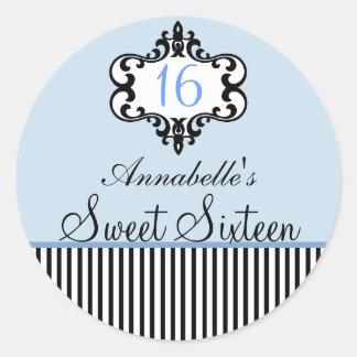 Elegant Blue & Black Chic Sweet 16 Sticker