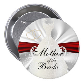 Elegant Bridal Party with Red & Gold Accents 7.5 Cm Round Badge