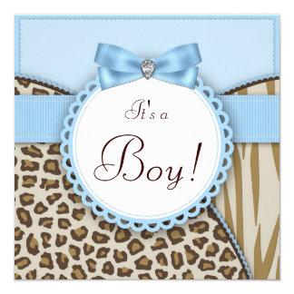 Elegant Brown and Blue Baby Boy Shower 13 Cm X 13 Cm Square Invitation Card