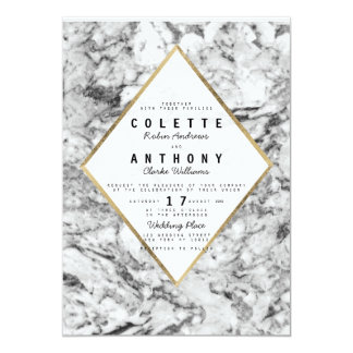 Elegant chic faux gold black white marble wedding 13 cm x 18 cm invitation card