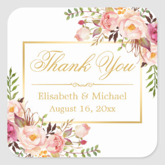 Elegant Chic Floral Gold Frame Thank You Square Sticker