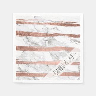 Elegant chic rose gold brush stripes white marble disposable serviettes