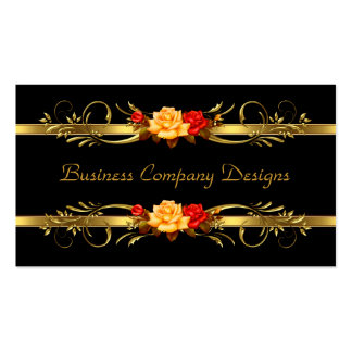Elegant Classy Gold Black Red Roses Pack Of Standard Business Cards