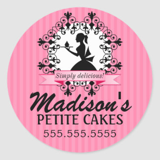 Elegant Cupcake Bakery Lady Silhouette Pink Round Sticker