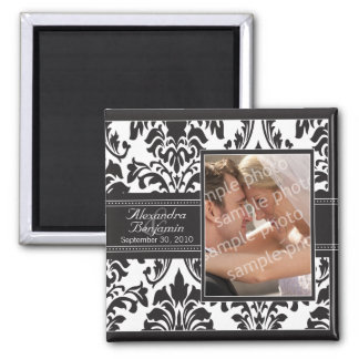 Elegant Damask Wedding Favor Magnet: black/white Square Magnet
