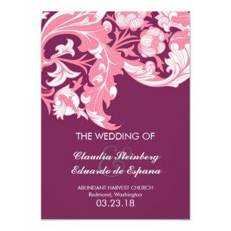Elegant Dark & Classy Florals - Dark Purple, Pink 13 Cm X 18 Cm Invitation Card