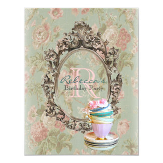elegant english floral vintage birthday party 11 cm x 14 cm invitation card