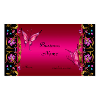 Elegant Floral Gold Pink  Black Butterfly Pack Of Standard Business Cards
