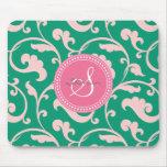 Elegant girly green pink floral pattern monogram mouse pad
