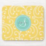 Elegant girly yellow floral pattern monogram mouse pad