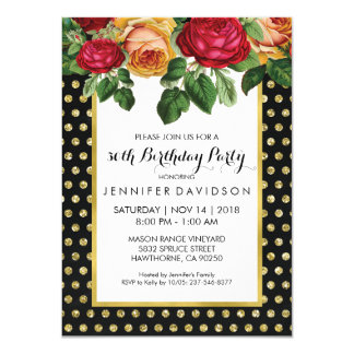 ELEGANT GOLD BLACK FLORAL BIRTHDAY PARTY 11 CM X 16 CM INVITATION CARD