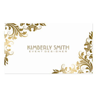 Elegant Gold Floral Lace White Background Pack Of Standard Business Cards