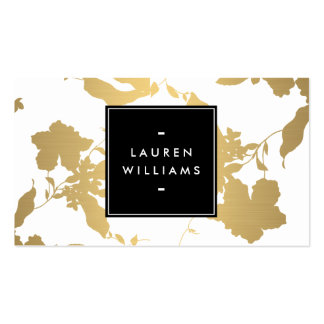 Elegant Gold Floral Pattern on White II Pack Of Standard Business Cards