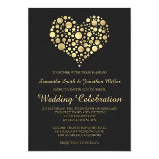 Elegant Gold Heart Dusty Black Wedding Invitation
