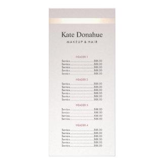 Elegant Gold Stripe Hair Salon Price List Menu Personalised Rack Card