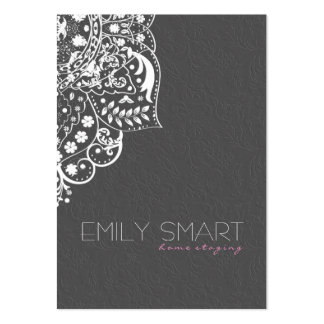 Elegant Gray Damasks White Vintage Lace Pack Of Chubby Business Cards