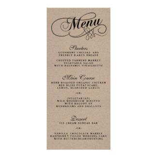 Elegant Kraft Wedding Menu Templates 10 Cm X 23 Cm Rack Card