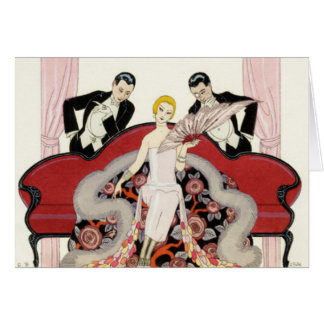 Elegant Lady in Paris Art Deco Greeting Card