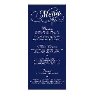 Elegant Navy Blue And White Wedding Menu Templates Customized Rack Card