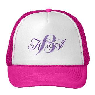 elegant pastel lilac purple monograms bridesmaid cap