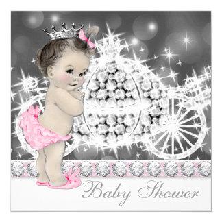 Elegant Pink and Gray Princess Baby Shower 13 Cm X 13 Cm Square Invitation Card