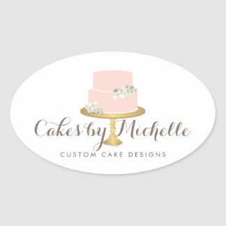 Elegant Pink Cake with Florals Cake Decorating Oval Sticker