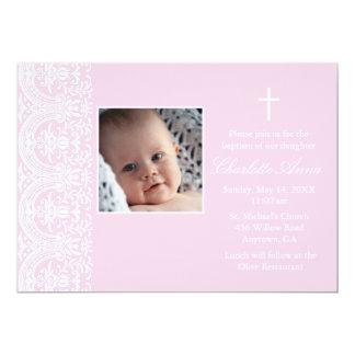 Elegant Pink & White Damask Baptism Invitation