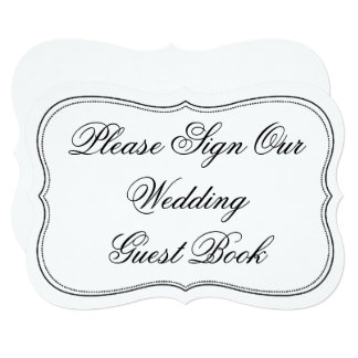 Elegant Please Sign Our Wedding Guest Book Sign 13 Cm X 18 Cm Invitation Card