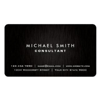 Elegant Professional Plain Black Modern Metal Look Pack Of Standard Business Cards